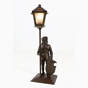 Arts & Crafts Knight Patinated Metal Table Lamp by Hugo Berger for Goberg, 1920s