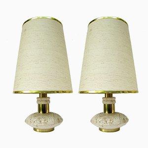 Lampade da tavolo in ottone e travertino, anni '70, set di 2