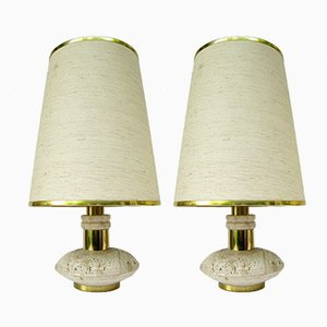 Travertine & Brass Table Lamps, 1970s, Set of 2
