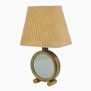 Lámpara de mesa italiana de vidrio y latón pulido, años 70
