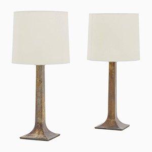 Französische Bronze Tischlampen, 1950er, 2er Set
