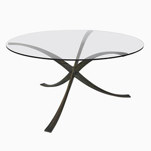 French Bronze & Glass Dining Table by Michel Mangematin, 1960s