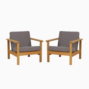 Sessel aus massiver Eiche, 1970er, 2er Set