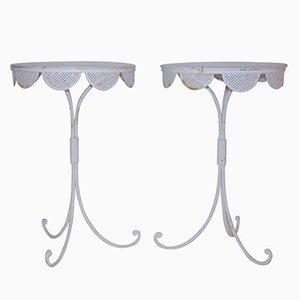 Mesas pedestal francesas pequeñas de hierro lacado en blanco, años 60. Juego de 2