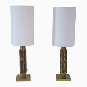 Italian Gilded Bronze Table Lamps from Frigerio, 1970s, Set of 2