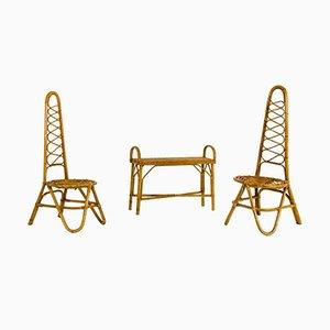 Mesa de centro y sillas italianas de bambú, años 50
