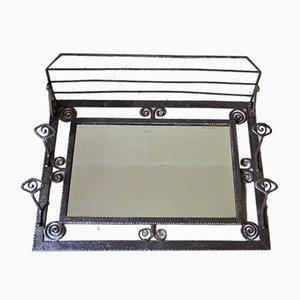 Art Deco Schmiedeeisen und Spiegelglas Garderobe
