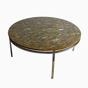 Table Basse Mid-Century en Chrome et Marbre, 1970s