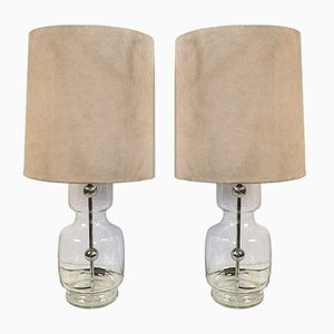 Large Glass, Chrome & Alcantara Table Lamps from Richard Essig, 1960s, Set of 2