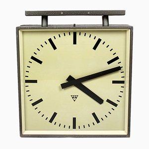 Reloj de ferrocarril grande de doble cara de Pragotron, años 70