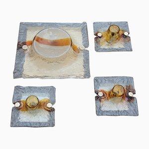 Applique quadrate in vetro di Murano di Toni Zuccheri per Venini, anni '60, set di 4
