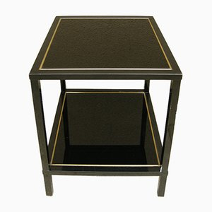 Metal & Black Glass Double Pedestal Side Table, 1970s
