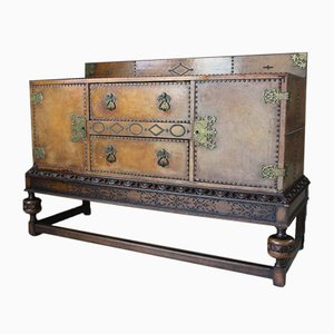 Vintage Brown Leather Studded Oak Sideboard