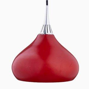 Lámpara colgante vintage en forma de gota en rojo, años 70