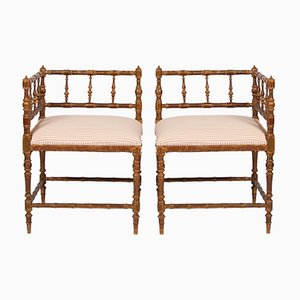 Vintage French Corner Armchairs, Set of 2
