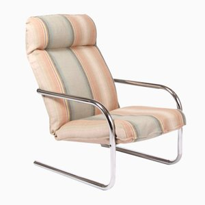 Reclining Striped Lounge Chair, 1980s
