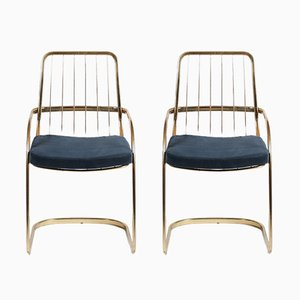 Chaises Cantilever en Laiton par Willy Rizzo, 1970s, Set de 2