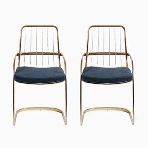 Chaises Cantilever en Laiton par Willy Rizzo, 1970s, Set de 2