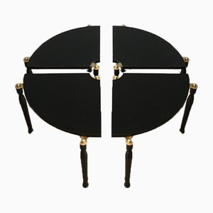Black Lacquer and Brass Four Quarter Coffee Table, 1970s
