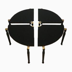 Mesa de centro de laca negra y latón dividida en cuartos, años 70