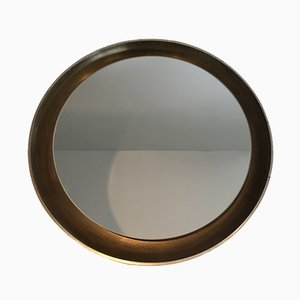 Curved Wood Backlit Mirror, 1950s