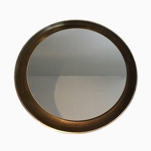 Hinterleuchteter Spiegel aus gebogenem Holz, 1950er