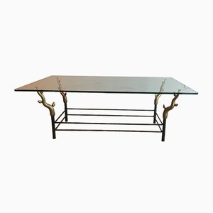 Table Basse en Fer Forgé et Bronze, 1970s
