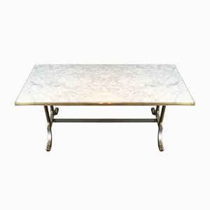 Brushed Steel and Brass Marble Top Coffee Table from Maison Jansen, 1940s