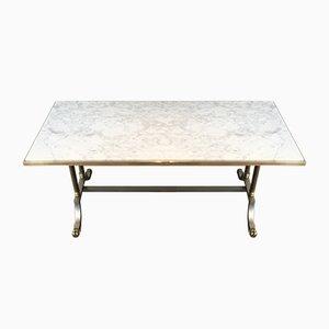 Mesa de centro de acero cepillado y latón con tablero de mármol de Maison Jansen, años 40
