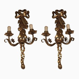 Italian Gild Sconces, 1960s, Set of 2