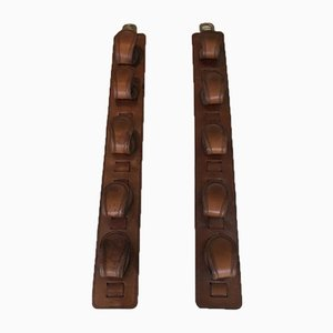 Leather & Brass Gun Holders by Jacques Adnet, 1940s, Set of 2
