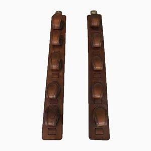 Portapistolas de cuero y latón de Jacques Adnet, años 40. Juego de 2