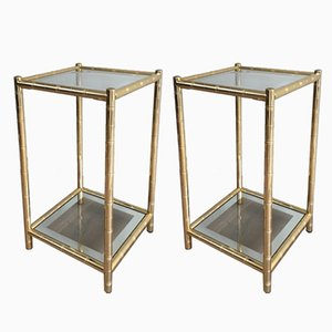 Gold Gild Side Tables from Maison Lancel, 1970s, Set of 2