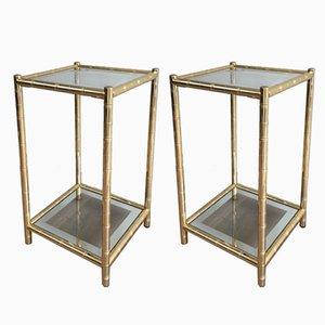 Vergoldete Beistelltische von Maison Lancel, 1970er, 2er Set