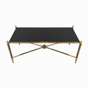 Brass Coffee Table with Black Lacquered Glass from Maison Jansen, 1940s