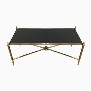 Table Basse en Laiton et Verre Laqué Noir de Maison Jansen, 1940s