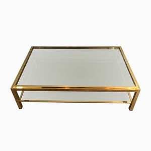 Large Rectangular Brass Coffee Table by Willy Rizzo, 1970s