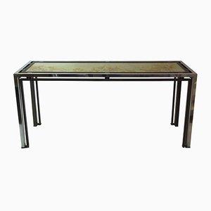 Mesa consola vintage de aluminio y latón dorado de Romeo Rega