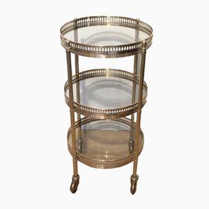 Small Round Brass Trolley from Maison Jansen, 1940s
