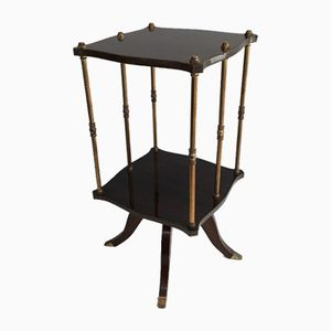 French Mahogany & Brass Side Table, 1960s
