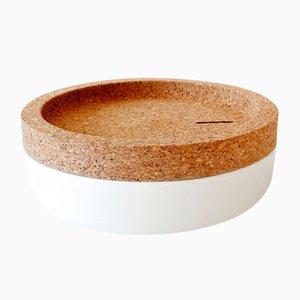 Weiße Tasco Spardose aus Kork & Keramik von Artful casacontemporanea