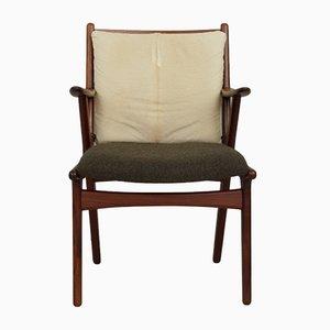 Mid-Century Wool & Cowhide Teak Armchair