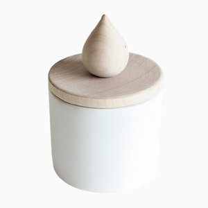 White Fiamma Candleholder in Ceramic and Wood by Artful casacontemporanea