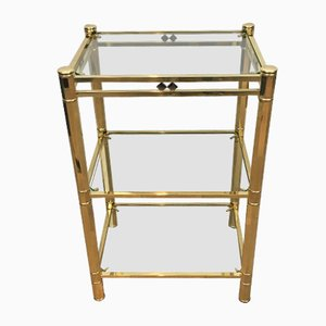 Table d'Appoint en Laiton et Chrome, 1970s