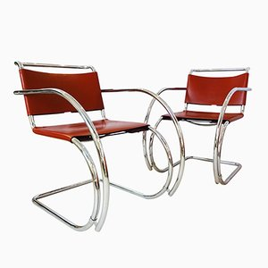MR20 Armchairs by Ludwig Mies van der Rohe for Knoll Inc., 1980s, Set of 2