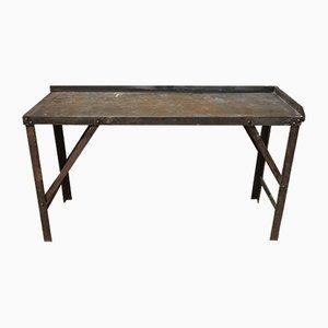 Mesa industrial vintage de acero, años 50