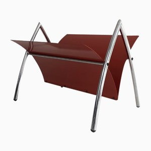 Red-Lacquered Metal and Chrome Magazine Rack, 1970s