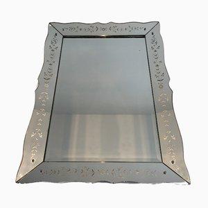Espejos de cristal de Murano grabado, años 40. Juego de 2