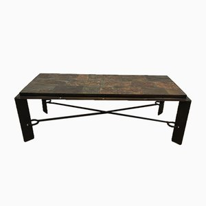 Steel and Iron Coffee Table with Lava Stone Top, 1940s