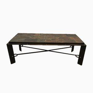 Tavolino da caffè in acciaio e ferro con ripiano in pietra lavica, anni '40
